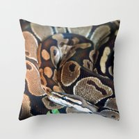 monty python Throw Pillows featuring Python by GardenGnomePhotography