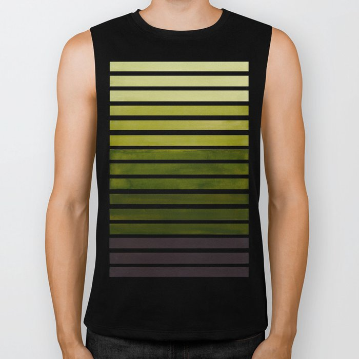 Watercolor Gouache Mid Century Modern Minimalist Colorful Olive Green Stripes Biker Tank