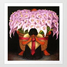 Pink Calla Lily Vendor portrait by Diego Rivera Art Print