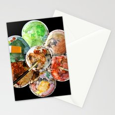 Painting Palette with Three Brushes Stationery Cards