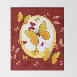 RED & YELLOW BUTTERFLIES &  YELLOW RING BURGUNDY ABSTRACT ART Throw Blanket