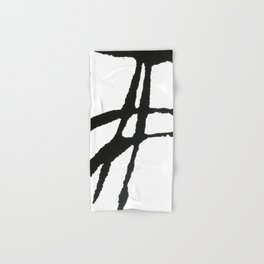 0523: a simple, bold, abstract piece in black and white by Alyssa Hamilton Art Hand & Bath Towel