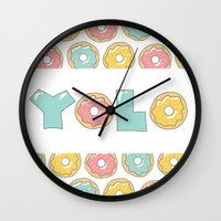 doughnut Wall Clocks featuring Doughnut Yolo by MOJA