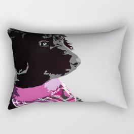 Black Standard Poodle in Grey and Pink Rectangular Pillow