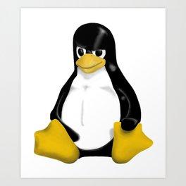 Angy Linux Tux Penguin Art Print