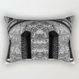 old brick building with windows in black and white Rectangular Pillow