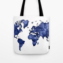 Dark navy blue watercolor world map Tote Bag