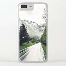 Down the Road - Mountains, Forest, Austria Clear iPhone Case