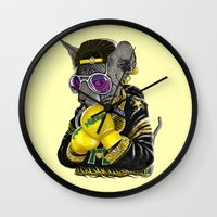 hiphop Wall Clocks featuring Boxing Cat 3 by Tummeow