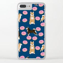 Shiba Inu donuts food cute dog art sweet treat dogs pet portrait pattern Clear iPhone Case