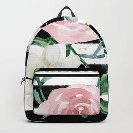 Rose Arrangement on Black Stripes No. 1 Backpack
