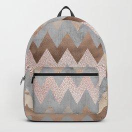 Rose Gold Chevron Glitter Glamour Marble Gem Backpack