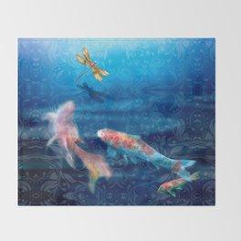 The Koi Damsel Throw Blanket