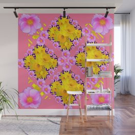 Coral Color Yellow Daffodils & Roses Pattern Art Wall Mural