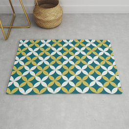 Off White, Dark Yellow and Tropical Dark Teal Inspired by Sherwin Williams 2020 Trending Color Oceanside SW6496 4 Leaf Minimal Flower Petal Pattern Rug