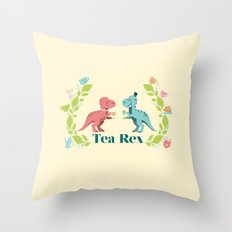Tea Rex Throw Pillow