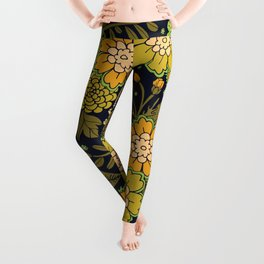 Retro 1970s Floral Pattern/Olive Green & Harvest Gold Leggings