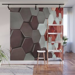 What The Hex Geo Abstract In Steel, Copper and White Wall Mural