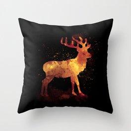Deer Watercolor Silhouette Animal Throw Pillow