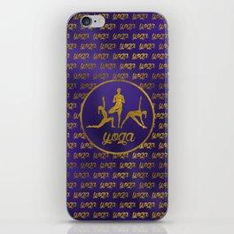 Golden Yoga Asanas Symbols  on  purple iPhone Skin