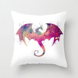 Dragon Art Watercolor Print Dragon Nursery Decor Home Decor Dragon Poster Purple Kids Room Decor Throw Pillow