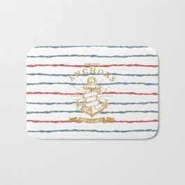 Maritime Design- Nautic Vintage Anchor on stripes in blue and red Bath Mat