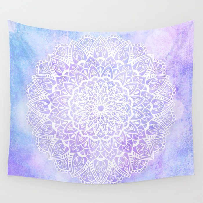 White Mandala on Pastel Blue and Purple Textured Background Wall Tapestry