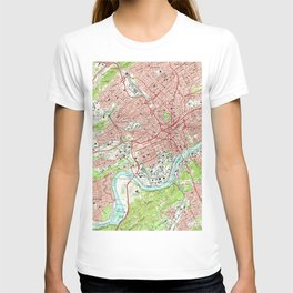 Vintage Map of Knoxville Tennessee (1966) T-shirt