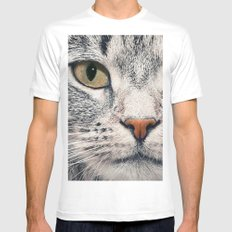 Cat White Mens Fitted Tee LARGE