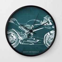D Superbike 1299 Panigale 2015 green blueprint Wall Clock
