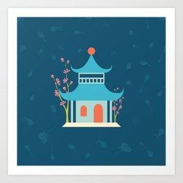 Chinoiserie Hut Art Print