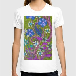 Starry Floral Felted Wool, Moss Green and Violet T-shirt