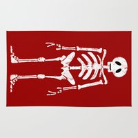 skeleton Area & Throw Rugs featuring Skeleton by Emma Harckham