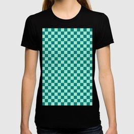 Magic Mint Green and Teal Green Checkerboard T-shirt