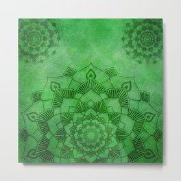 Emerald Green Lotus Mandala Metal Print