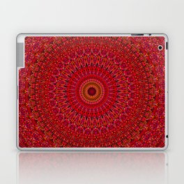 Red Lace Ornament Mandala Laptop & iPad Skin