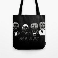 vampire weekend Tote Bags featuring Vampire Weekend (Inverted) by ☿ cactei ☿