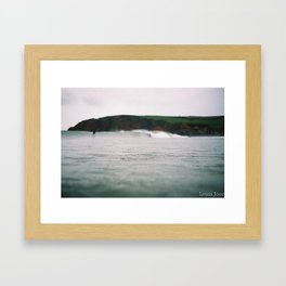 Waves by the Cliff Framed Art Print