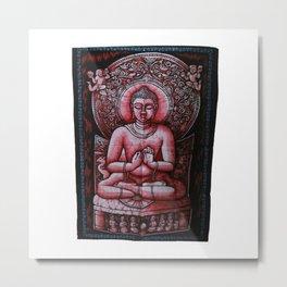 Buddha Meditation Red Batik Wall Hanging Tapestry Metal Print