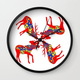 Graphic Elk Moose 01 Swedish Dala Mix Wall Clock