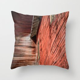 Red wooden walls Throw Pillow