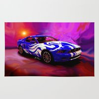 mustang Area & Throw Rugs featuring Wild Mustang by JT Digital Art