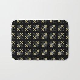 Fleur De Lis Gold Black White Bath Mat