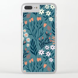 Beautiful Springtime Garden Daisy And Tulip Pattern Clear iPhone Case