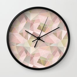 Broken glass in light pink tones. Wall Clock
