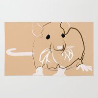 rat Area & Throw Rugs featuring Rat by Jessica Slater Design & Illustration