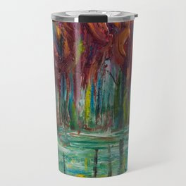 Red Trees Thick Impasto Abstract  Painting Travel Mug