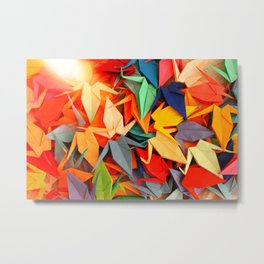 Senbazuru rainbow Metal Print