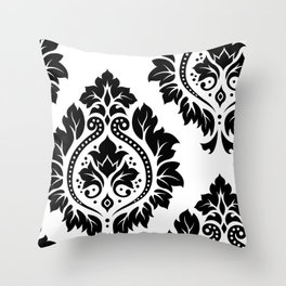 Decorative Damask Art I Black on White Throw Pillow