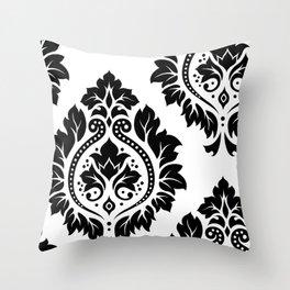 Decorative Damask Art I Black on White Throw Pillow